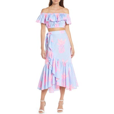 Lilly Pulitzer Larissa Off The Shoulder Two-Piece Cotton Dress, Blue