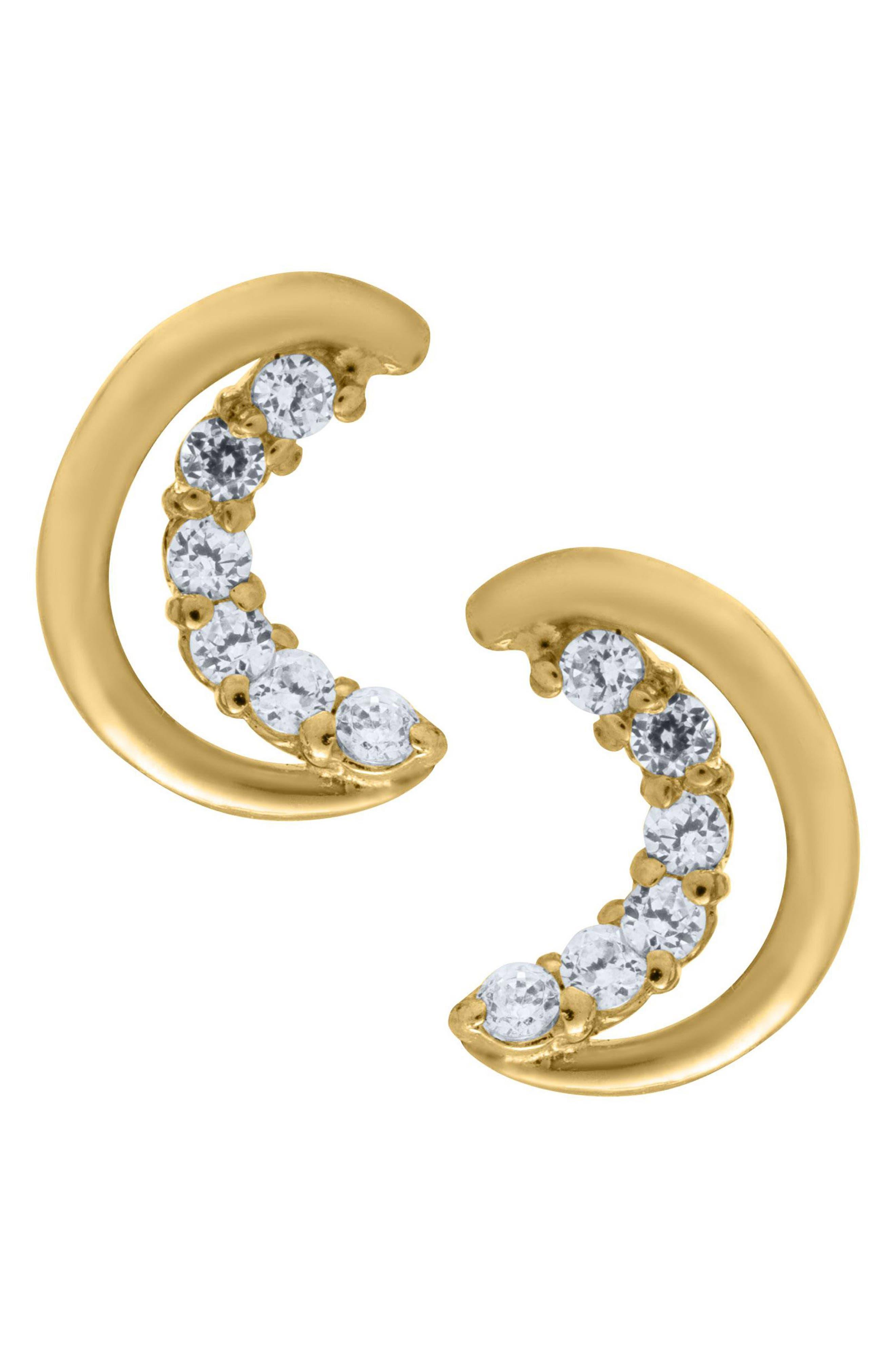 Girls Mignonette 14K Gold Half Moon Earrings