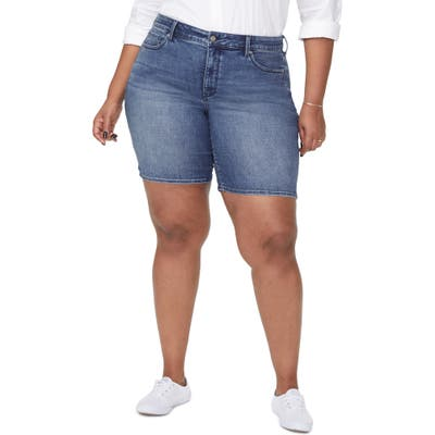 Plus Size Nydj Ella Side Slit Denim Shorts, Blue