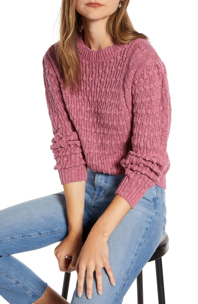 SOMETHING NAVY Cable Sweater, Main, color, 651