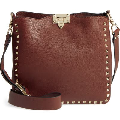 Valentino Garavani Small Rockstud Leather Hobo - Brown