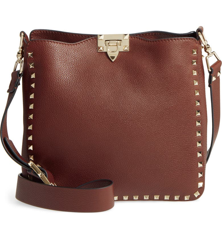VALENTINO GARAVANI Small Rockstud Leather Hobo, Main, color, 218