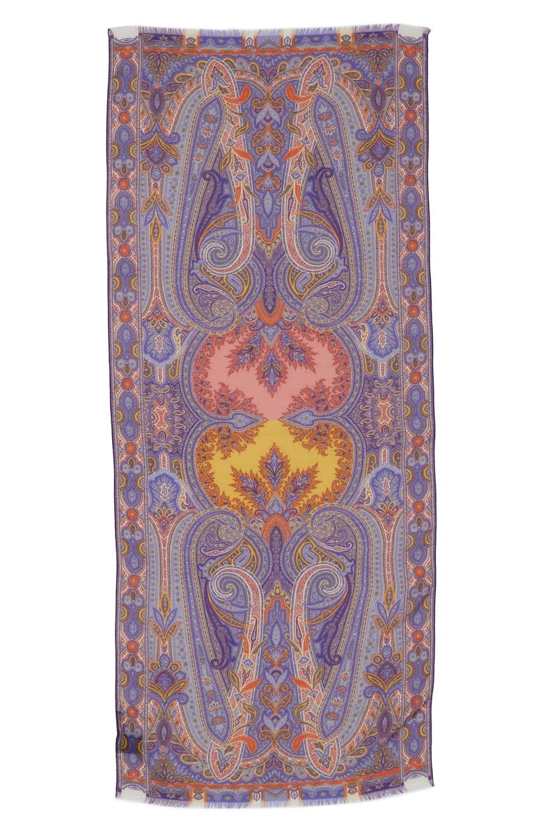 ETRO Sciarpa Delhy Silk & Wool Scarf, Main, color, 500