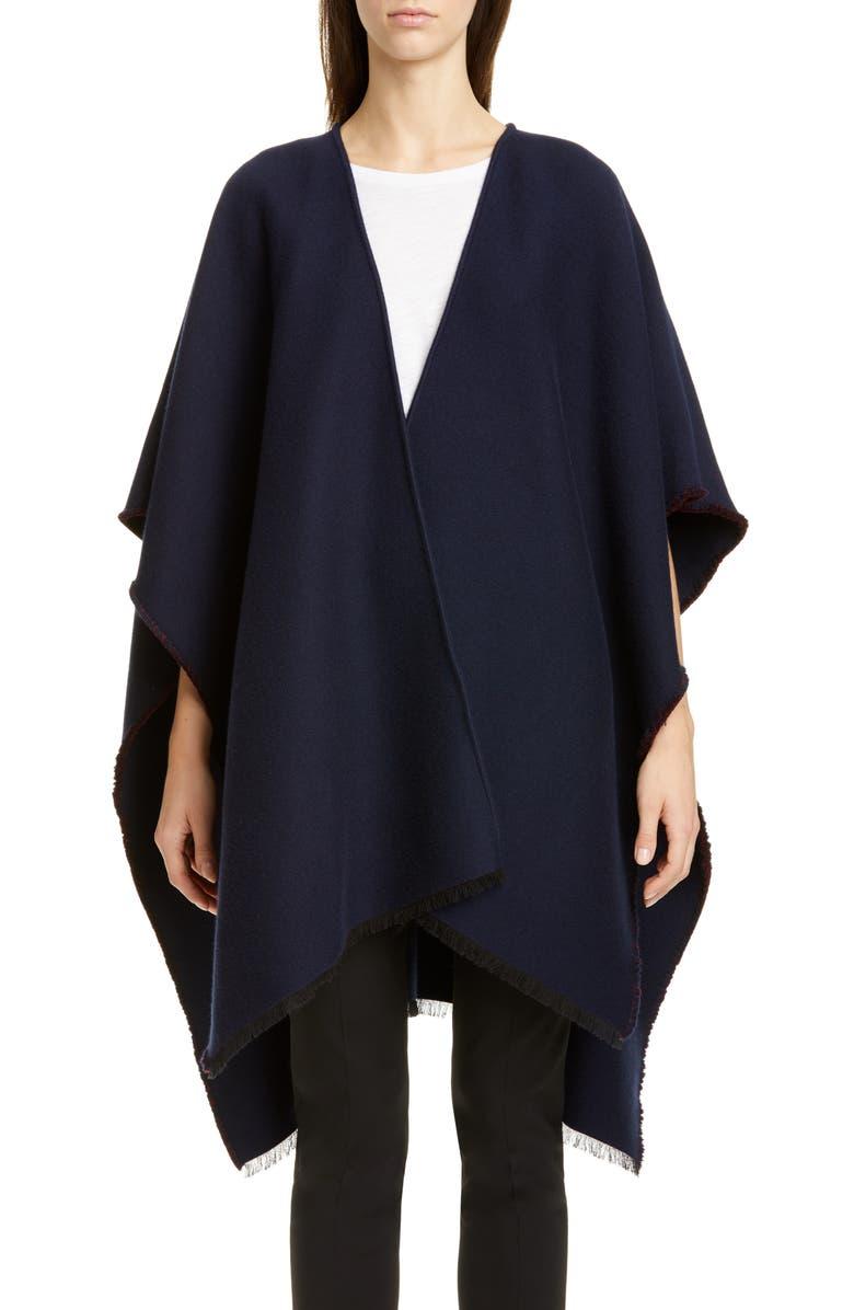 VALENTINO Logo Jacquard Wool & Silk Poncho, Main, color, 400