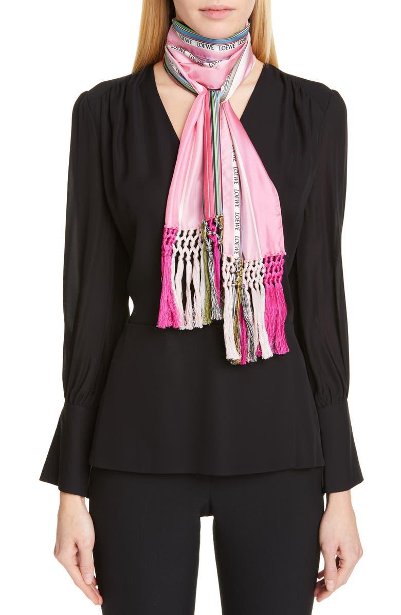 LOEWE Stripe Silk Scarf, Main, color, 650