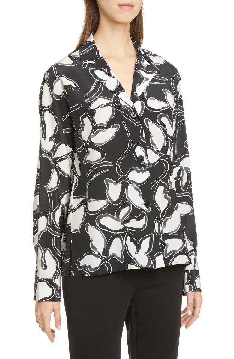 LAFAYETTE 148 NEW YORK Mariabella Floral Silk Blouse, Main, color, BLACK MULTI