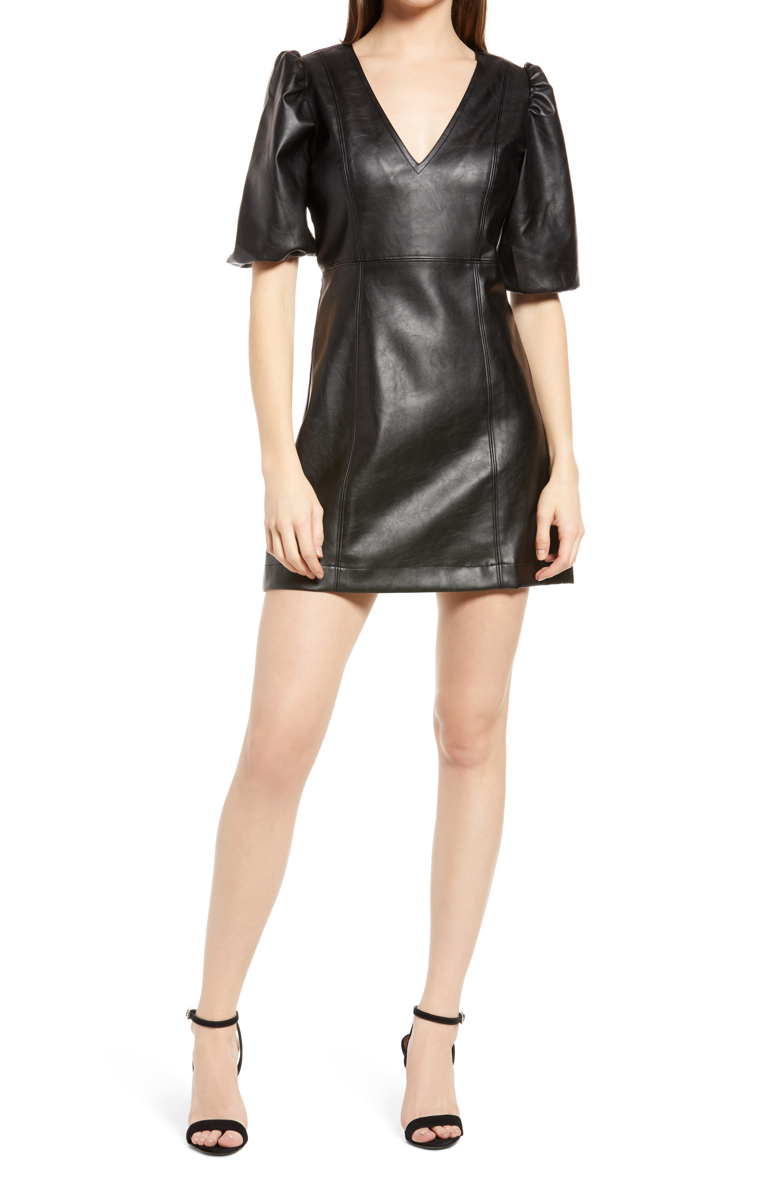 Women's Kendall + Kylie Puff Sleeve Faux Leather A-Line Dress