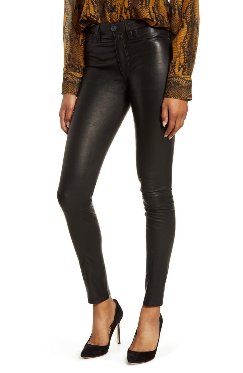 HUDSON JEANS Hudson Barbara High Waist Super Skinny Leather Pants, Main, color, BLACK