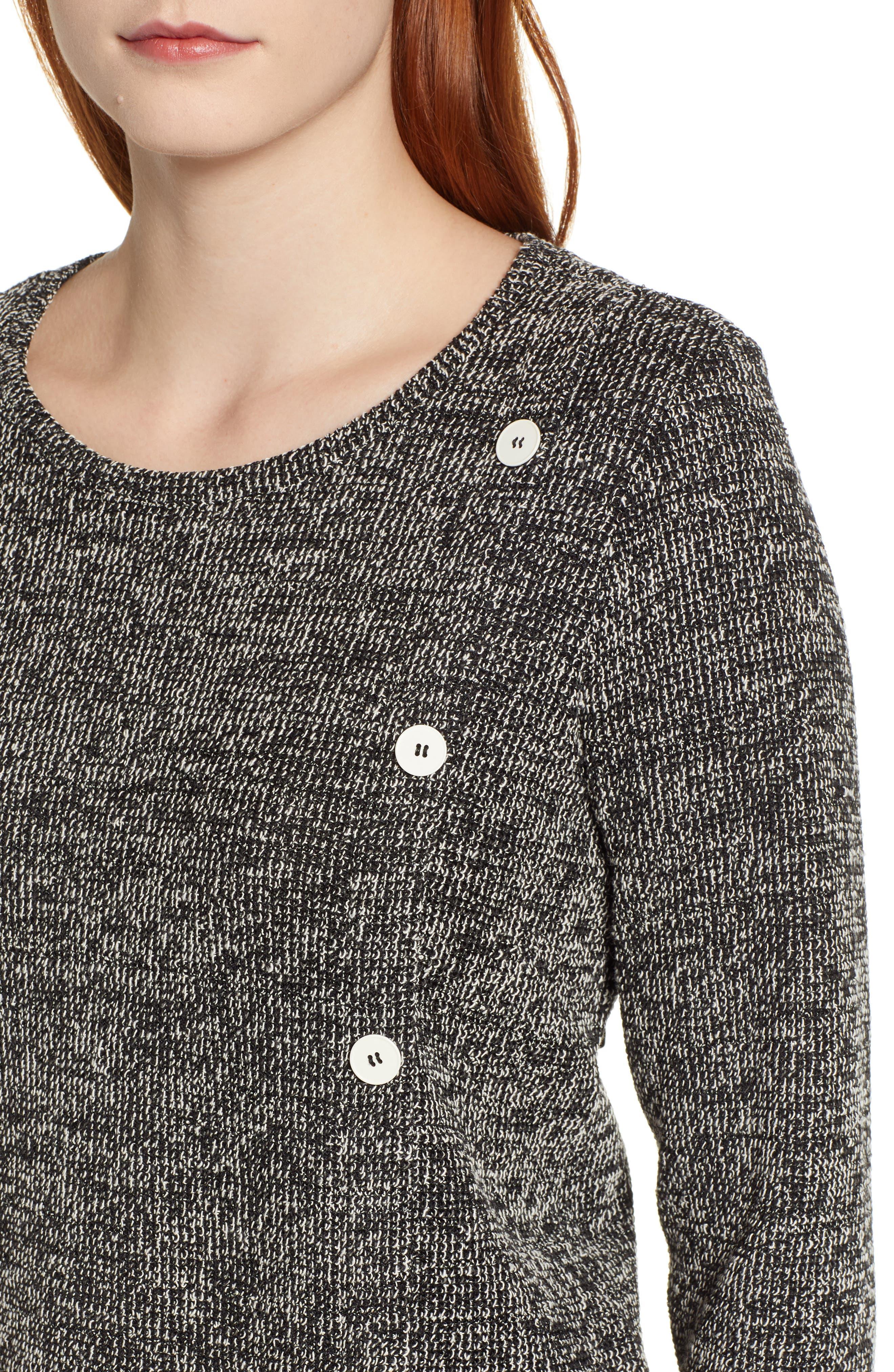 ,                             Button Detail Marl Knit Top,                             Alternate thumbnail 4, color,                             RICH BLACK