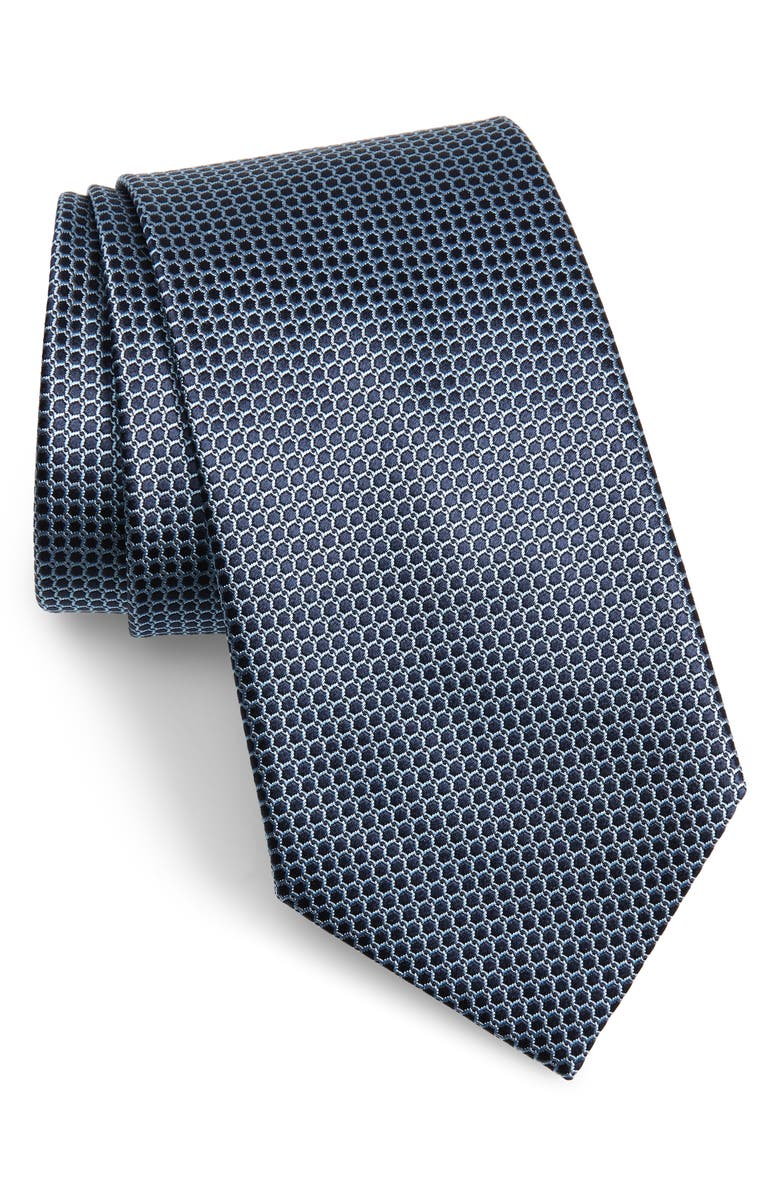 ERMENEGILDO ZEGNA Geometric Silk Tie, Main, color, BLUE MICRO FAN
