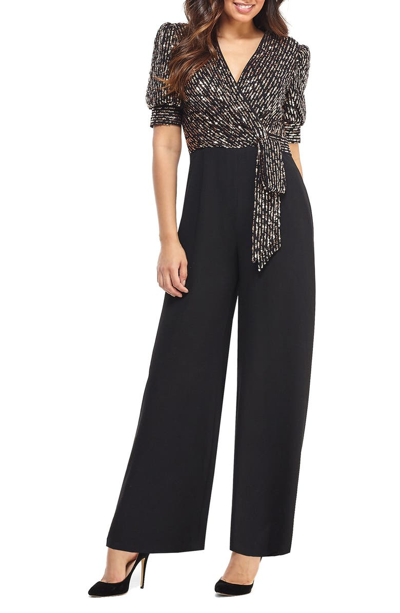 MAGGY LONDON Puffed Sleeve Sequin Wide Leg Jumpsuit, Main, color, BLACK/ ROSE