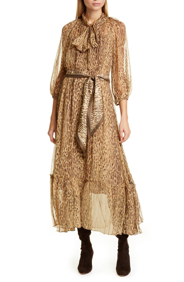 ZIMMERMANN Espionage Leopard Print Tie Neck Silk Midi Dress, Main, color, ANIMAL