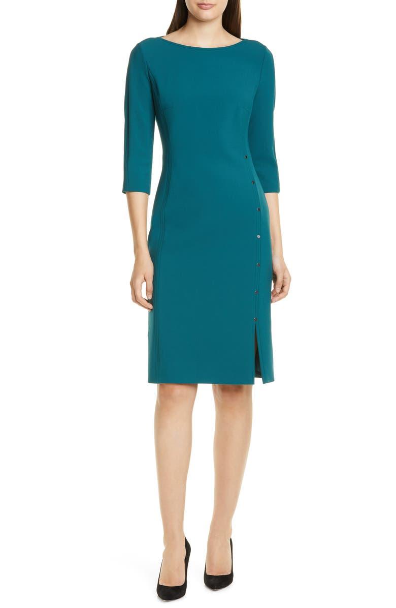 BOSS Dikena Ponte Sheath Dress, Main, color, DARK EMERALD