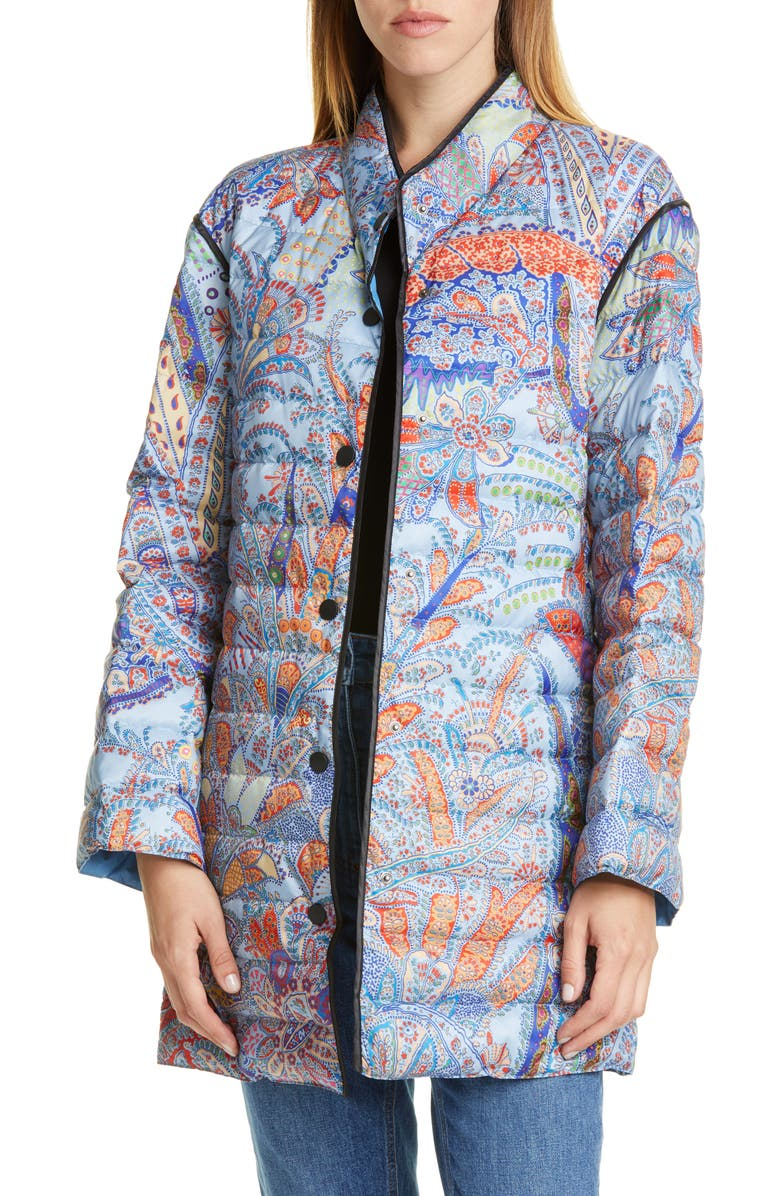 ETRO Paisley Print Water Resistant Down Puffer Jacket, Main, color, BLUE