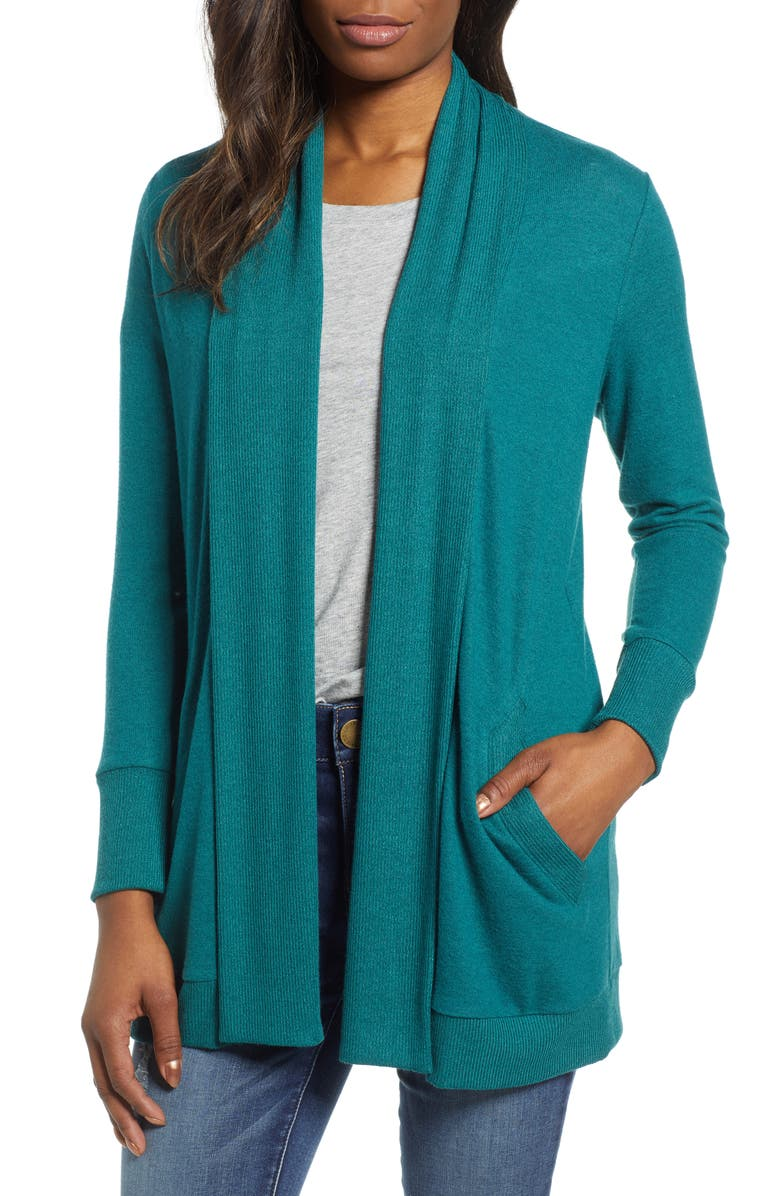 GIBSON Cozy Ribbed Cardigan, Main, color, DARK TEAL