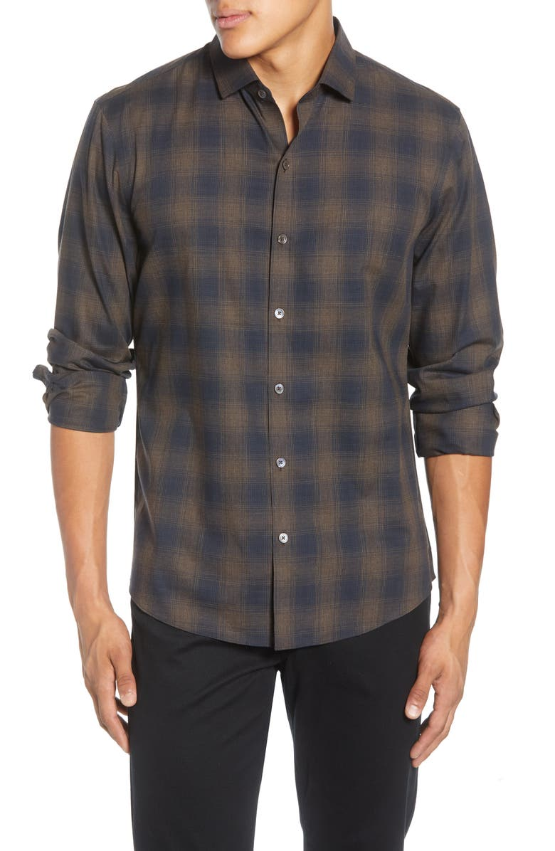 ZACHARY PRELL Cobo Regular Fit Plaid Button-Up Shirt, Main, color, BROWN