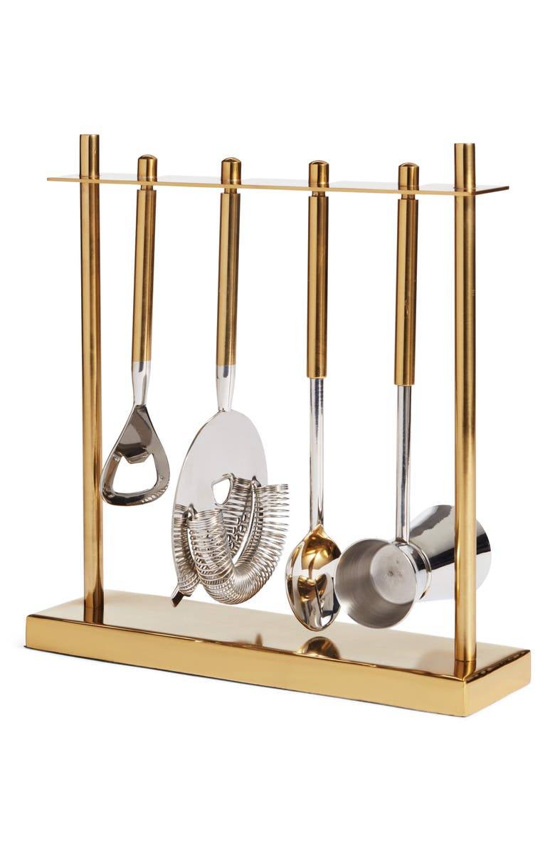 NORDSTROM AT HOME Nordstrom 5-Piece Stainless Steel Bar Tool Set, Main, color, GOLD