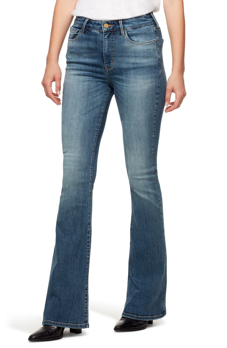 SANCTUARY High Waist Flare Jeans, Main, color, SPARROW LASER