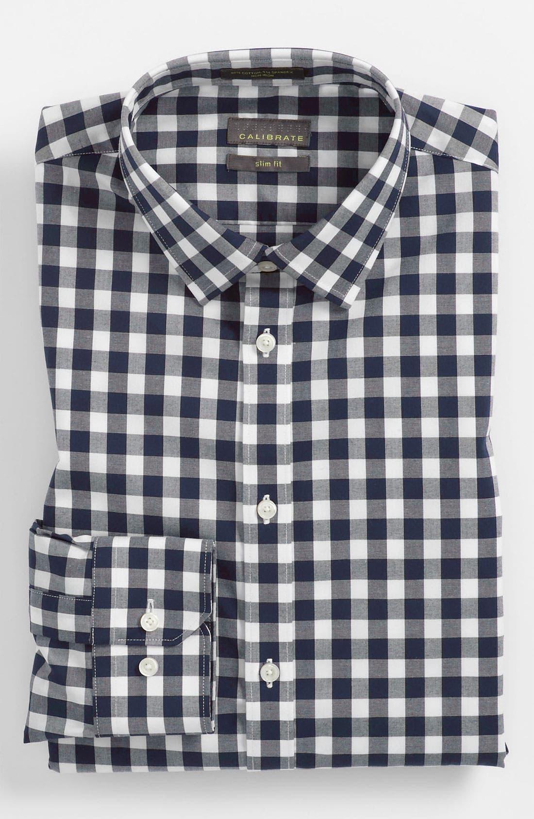 ,                             Slim Fit Non Iron Gingham Dress Shirt,                             Main thumbnail 13, color,                             410