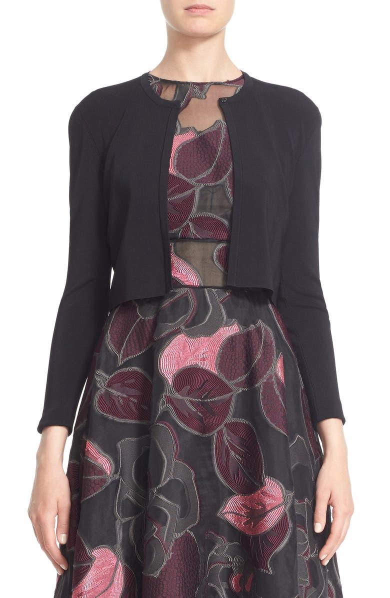 LELA ROSE Cropped Knit Cardigan, Main, color, 001