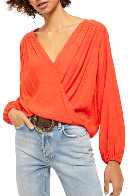 Free People CHECK ON IT FAUX WRAP TOP