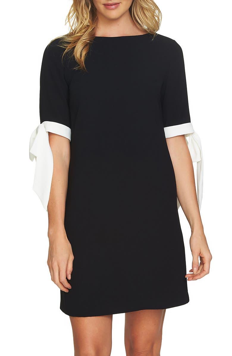 CECE Moss Crepe Shift Dress, Main, color, RICH BLACK