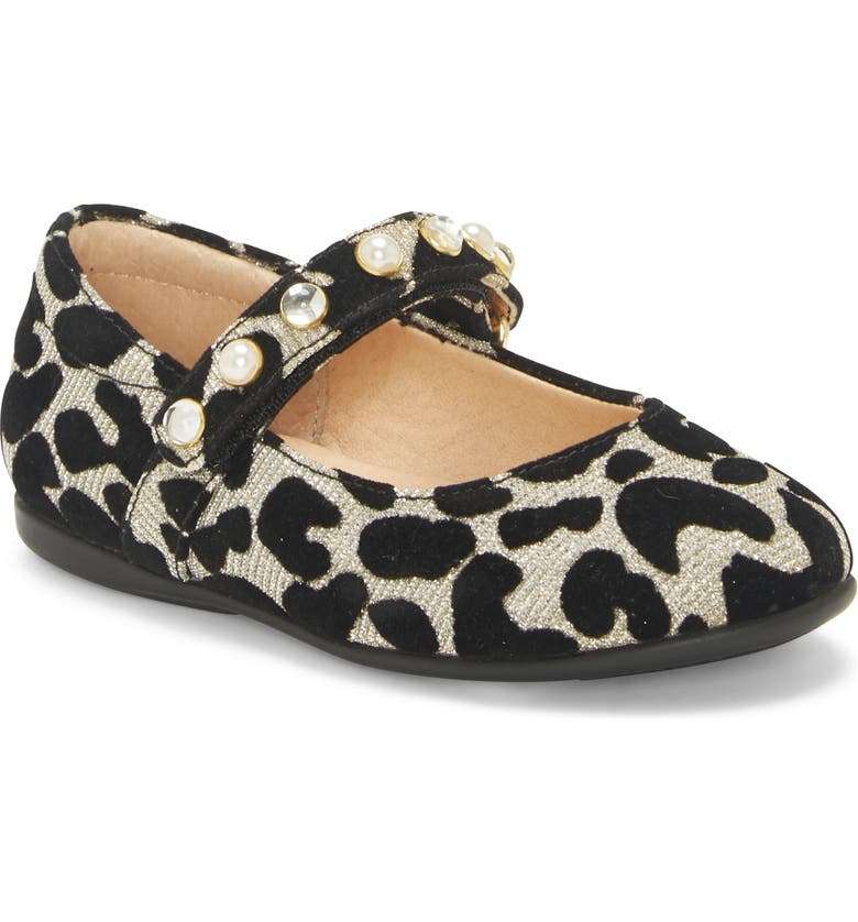SOLE PLAY Leopard Spot Mary Jane Flat (Baby, Main, color, BLACK MULTI LEOPARD