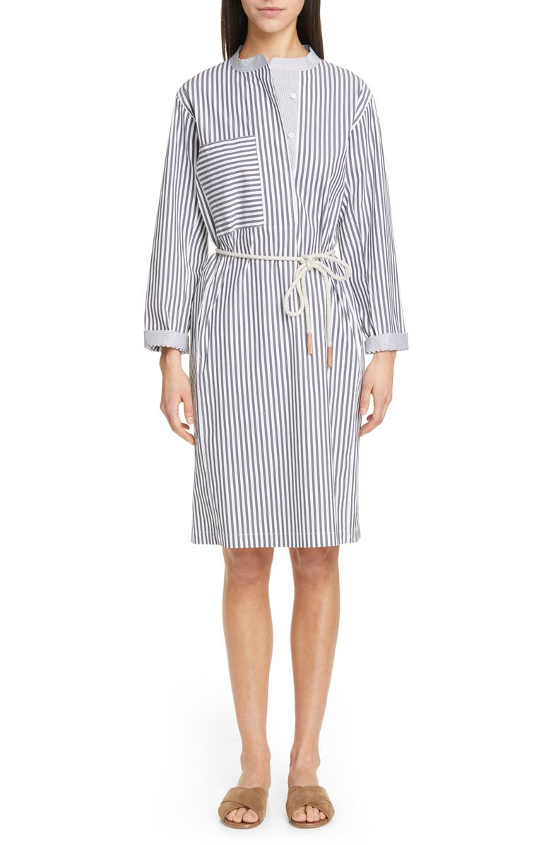 LAFAYETTE 148 NEW YORK Rexana Stripe Long Sleeve Belted Shirtdress, Main, color, 020