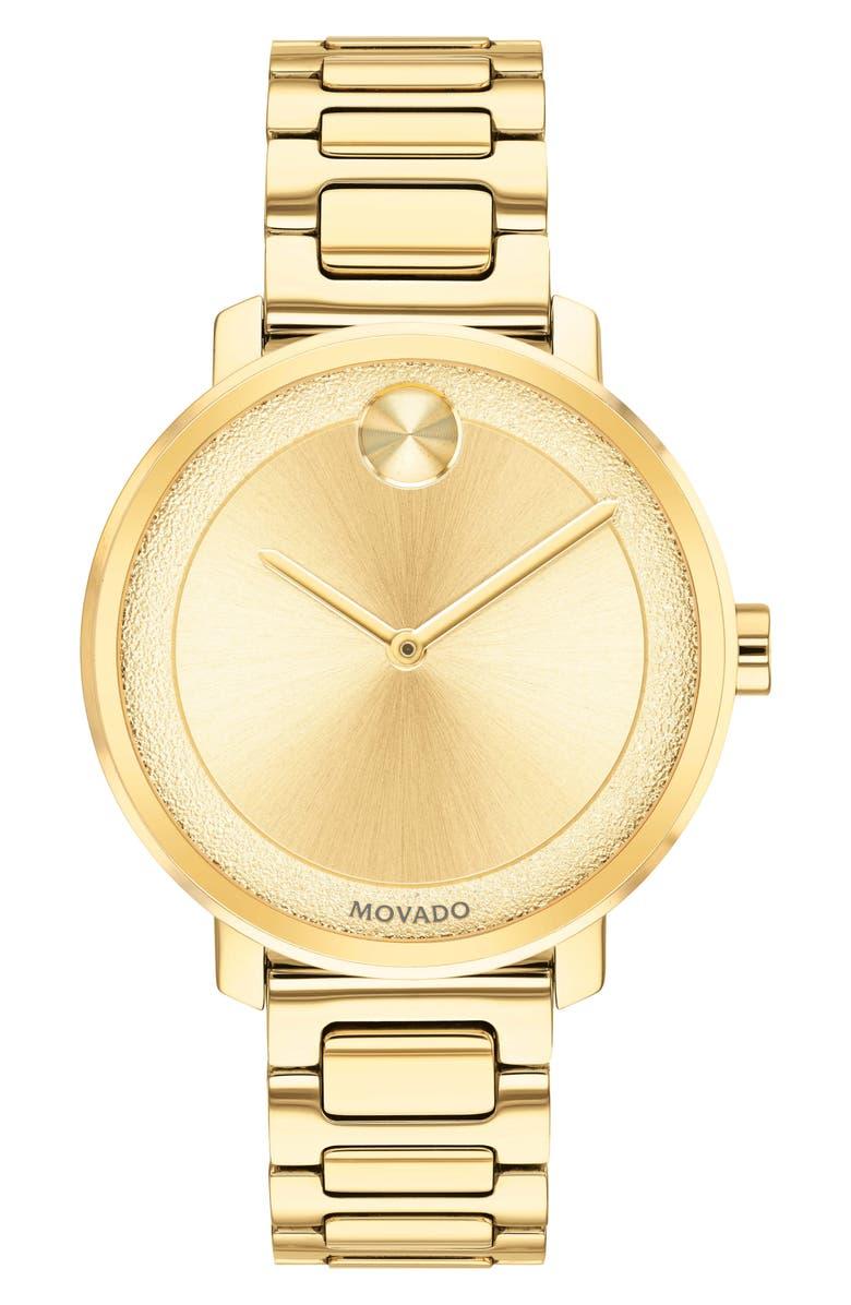 MOVADO Bold Bracelet Watch, 34mm, Main, color, GOLD