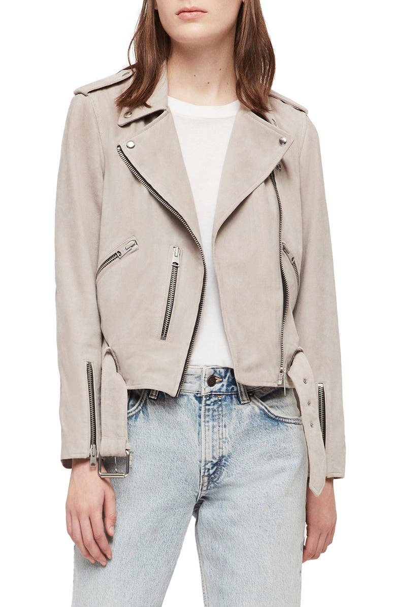 ALLSAINTS Balfern Suede Moto Jacket, Main, color, OYSTER WHITE