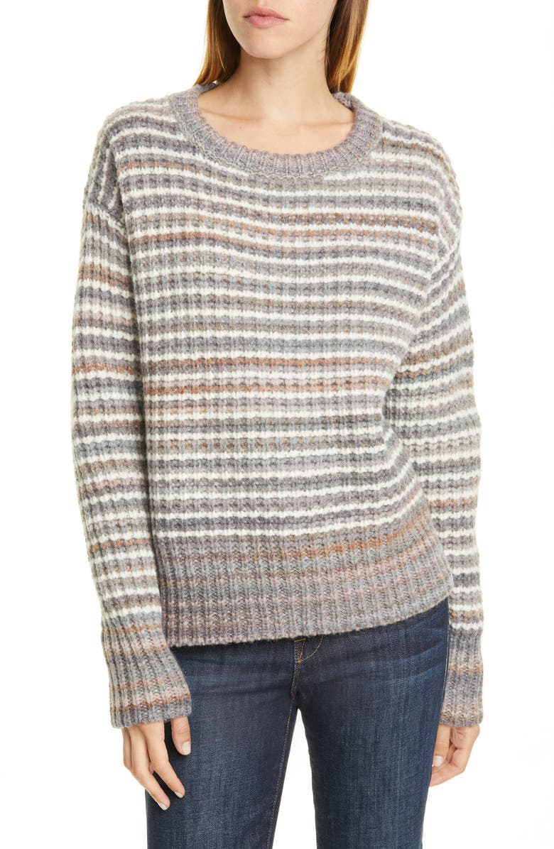 NORDSTROM SIGNATURE Stripe Wool Blend Pullover, Main, color, 021