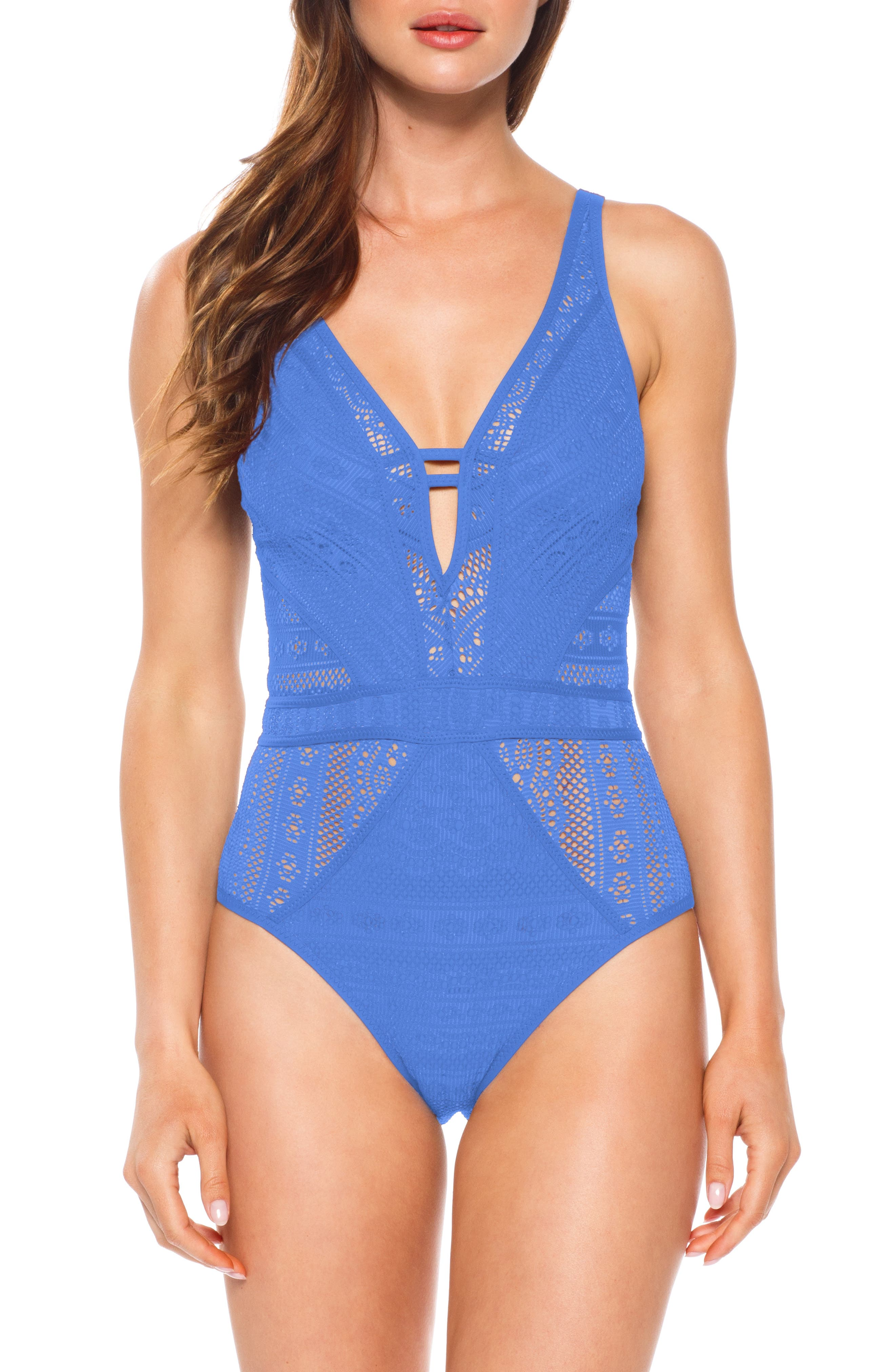 Becca Show & Tell One-Piece Swimsuit, Blue