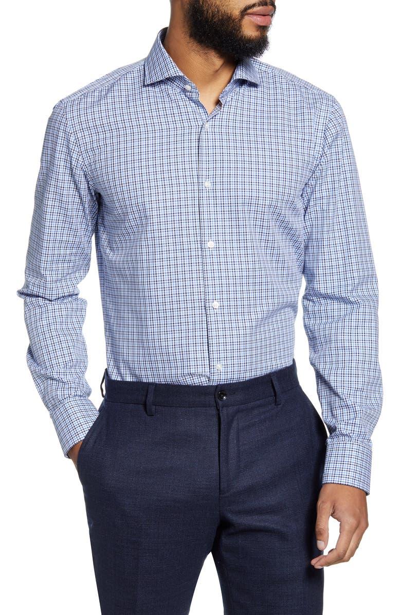 BOSS Slim Fit Plaid Dress Shirt, Main, color, 416
