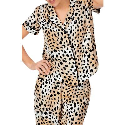 Shady Lady Short Sleeve Pajama Top, Brown