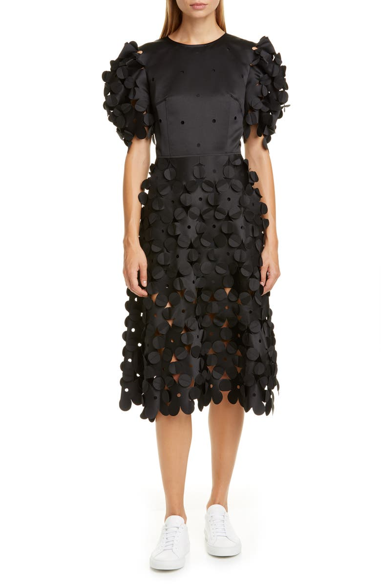 PASKAL Laser Cut Puff Sleeve Dress, Main, color, BLACK