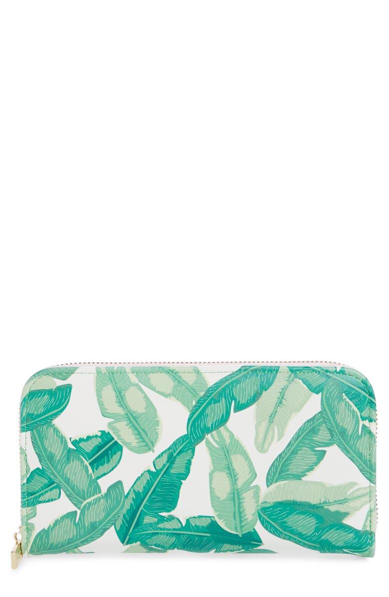 SKINNYDIP Banana Palm Print Wallet, Main, color, 300