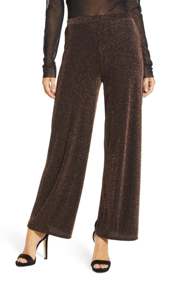 LEITH Sparkle Party Wide Leg Pants, Main, color, BLACK METALLIC GOLD STR