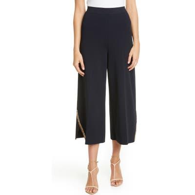 Stella Mccartney Embellished Compact Knit Wide Leg Crop Pants, US - Blue