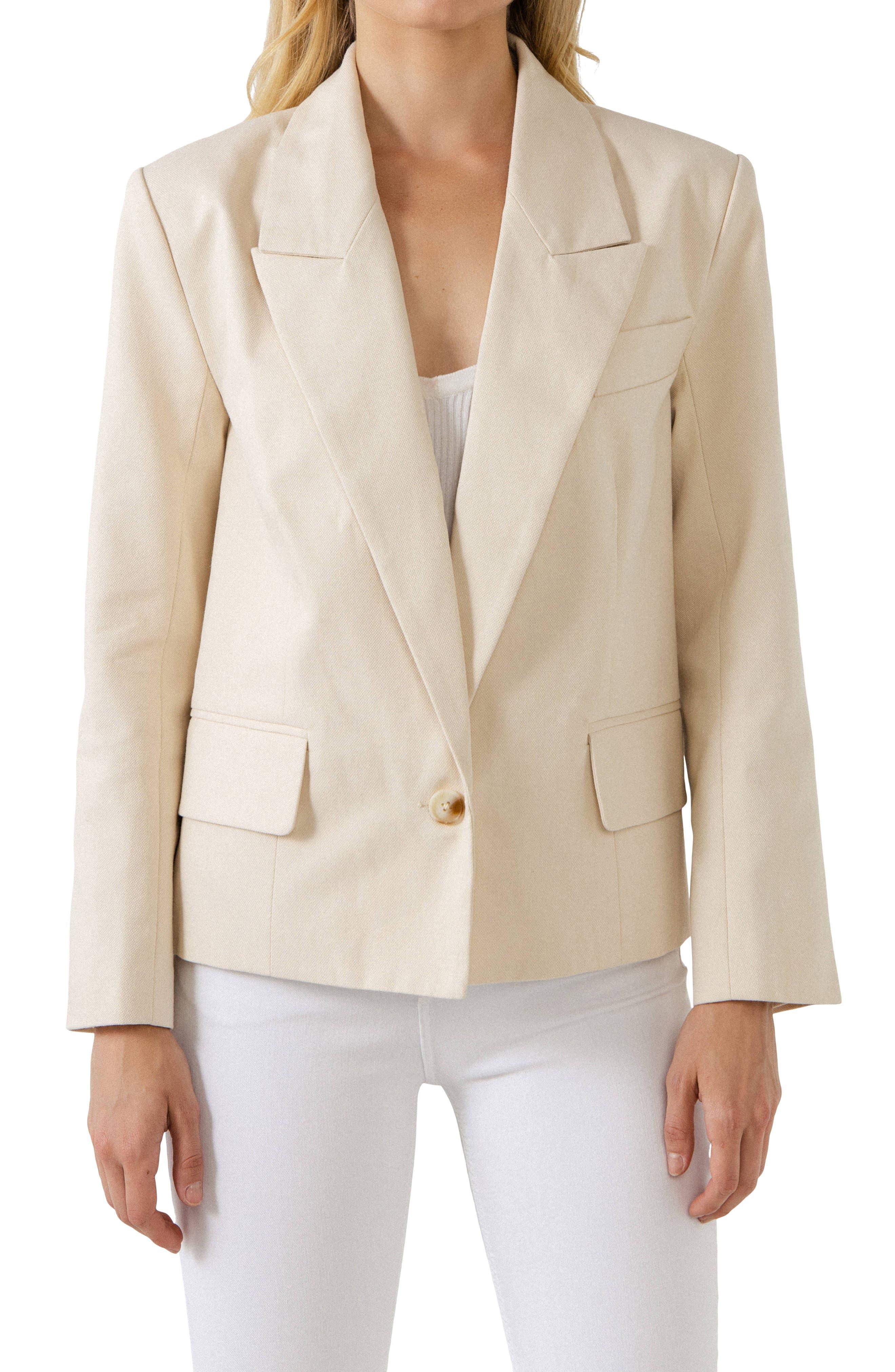 One Button Cotton Blazer