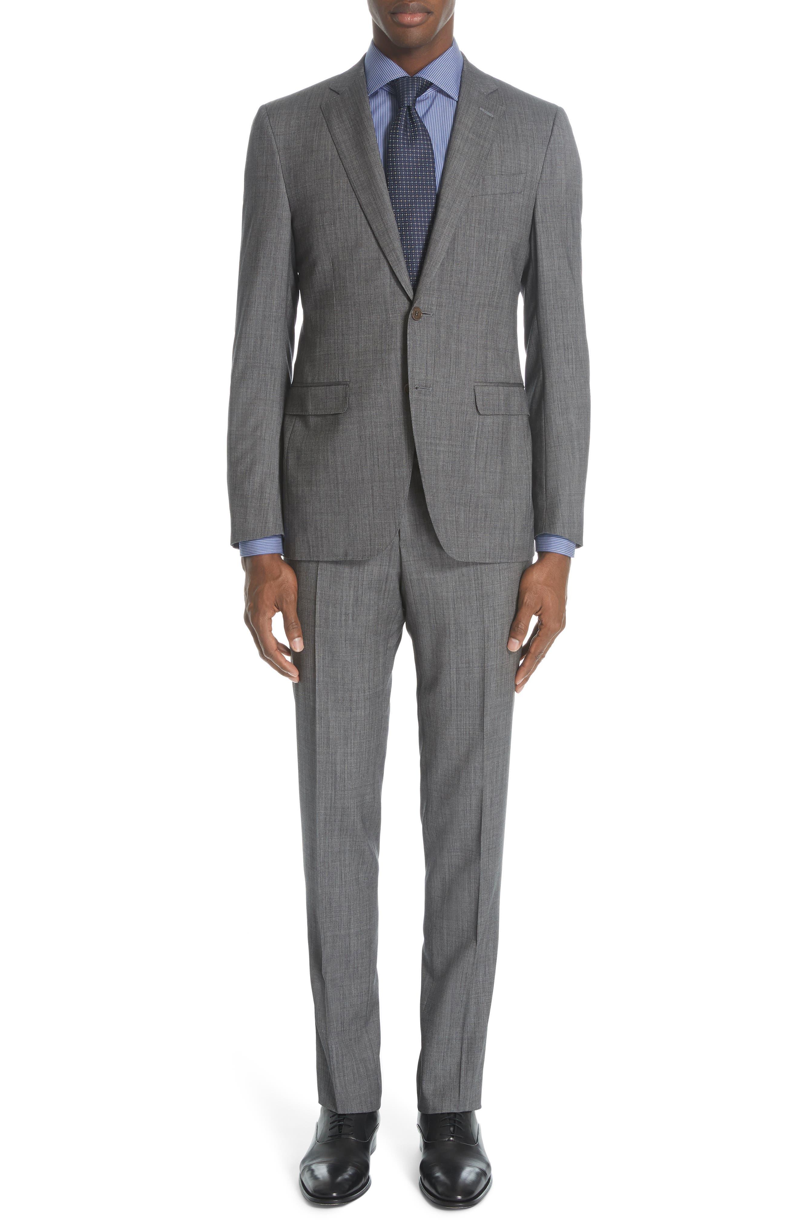 ,                             Milano Classic Fit Solid Wool & Silk Suit,                             Main thumbnail 1, color,                             DARK GREY