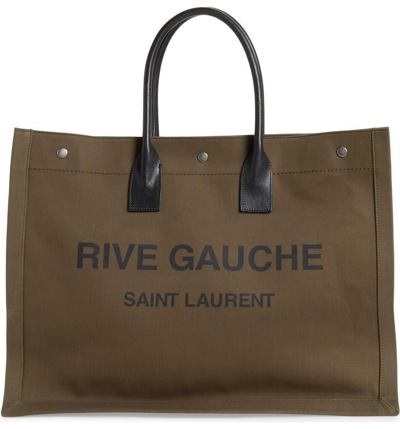 SAINT LAURENT Rive Gauche Tote Bag, Main, color, BROWN