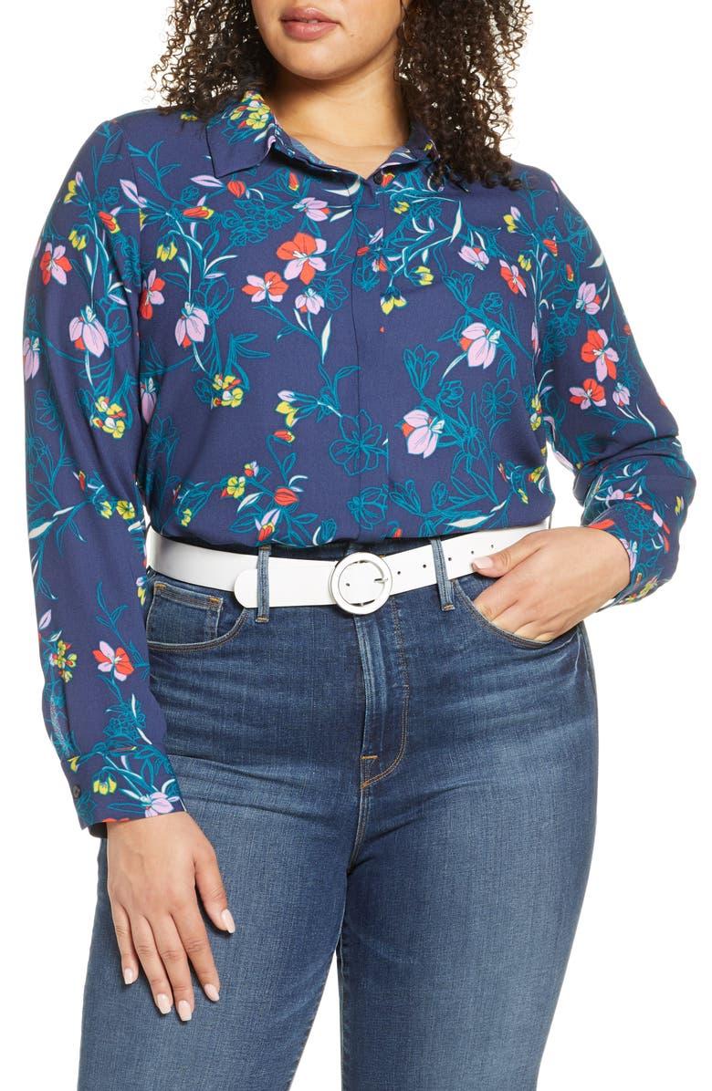 HALOGEN<SUP>®</SUP> Button-Up Blouse, Main, color, 410