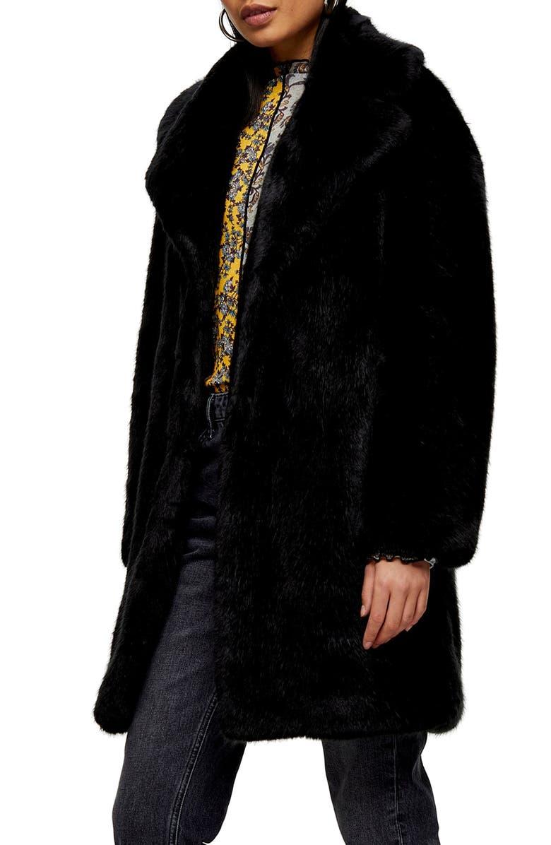 TOPSHOP Eclipse Luxe Faux Fur Coat, Main, color, BLACK