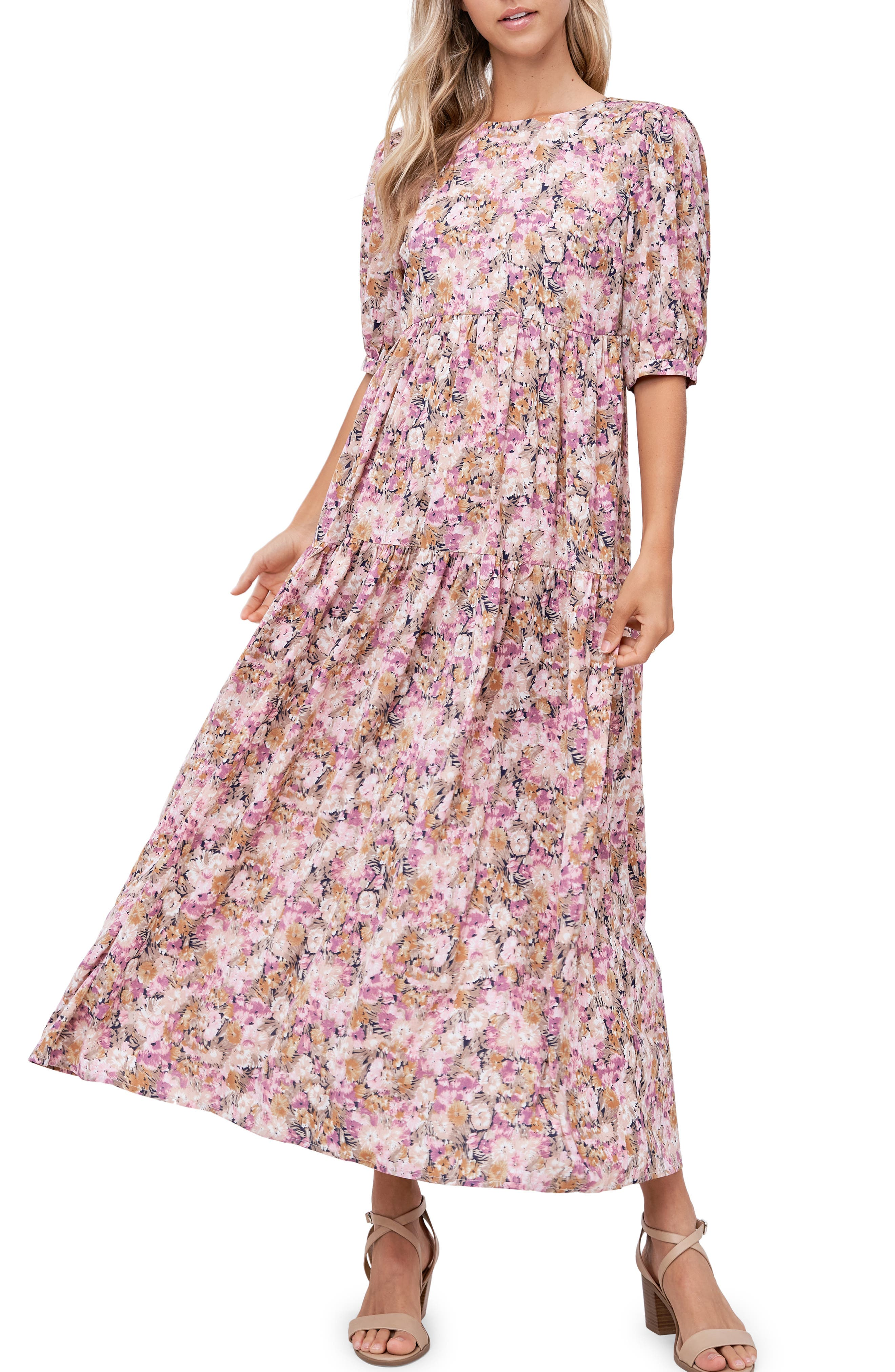 Floral Open Back Tiered Maxi Dress