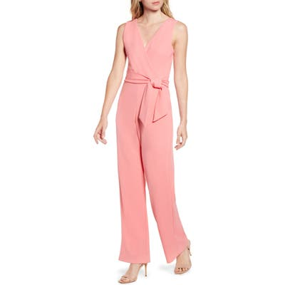 Sentimental Ny Plunge Back Jumpsuit, Coral