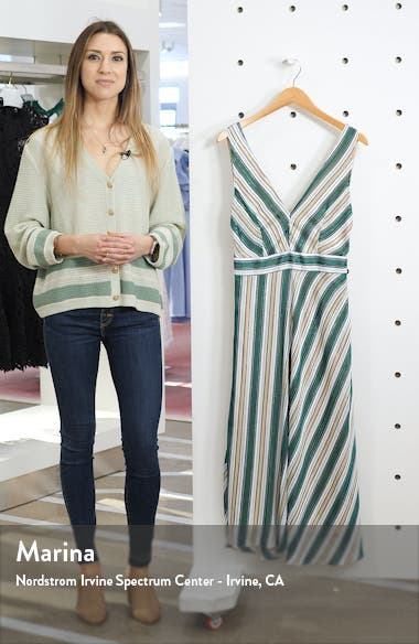 Bias Stripe V-Neck Midi Dress, sales video thumbnail