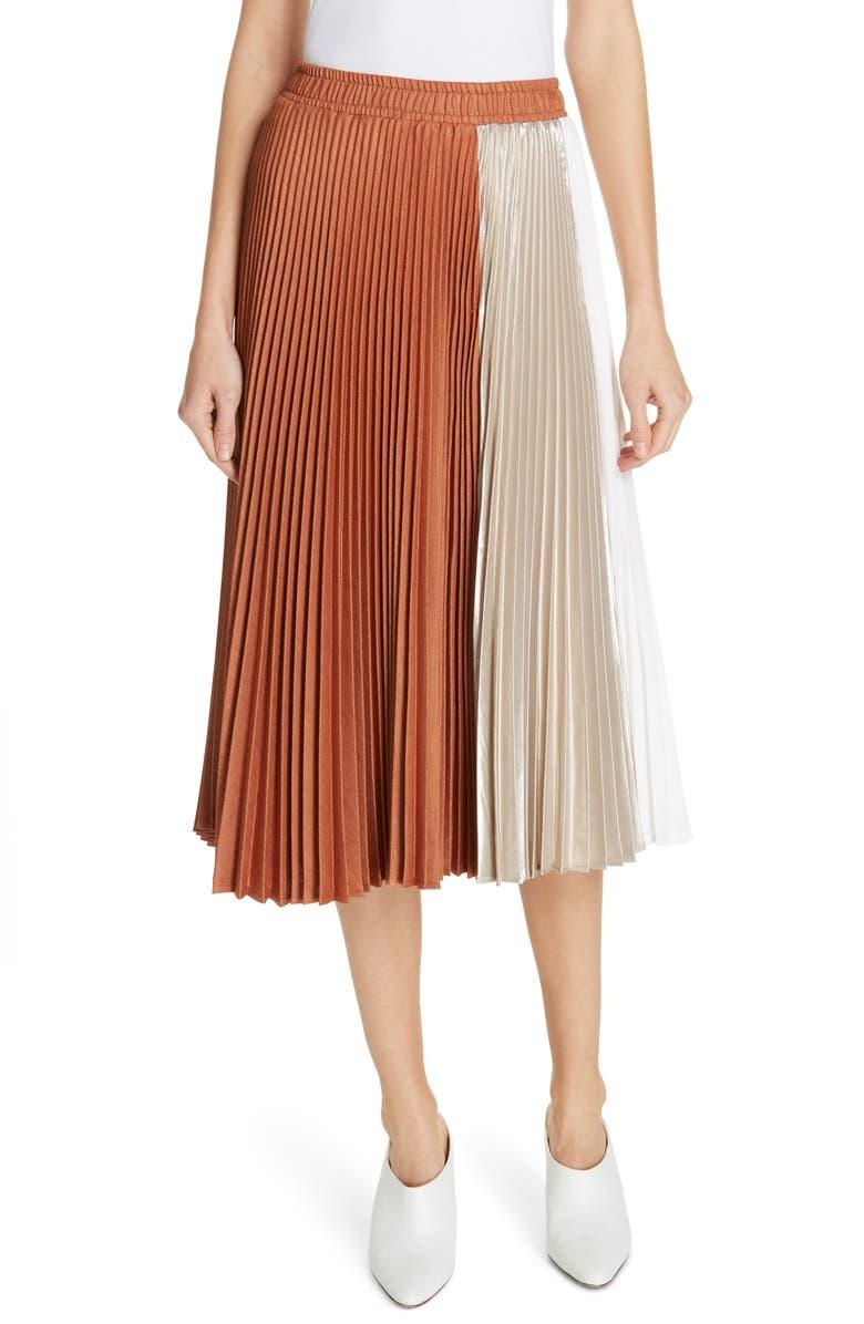 CLU Colorblock Pleated Midi Skirt, Main, color, BRICK/ GOLD