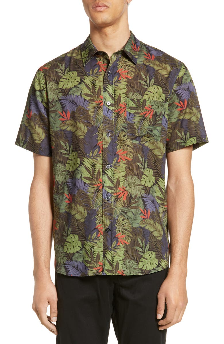 VINCE California Print Slim Fit Short Sleeve Shirt, Main, color, 001
