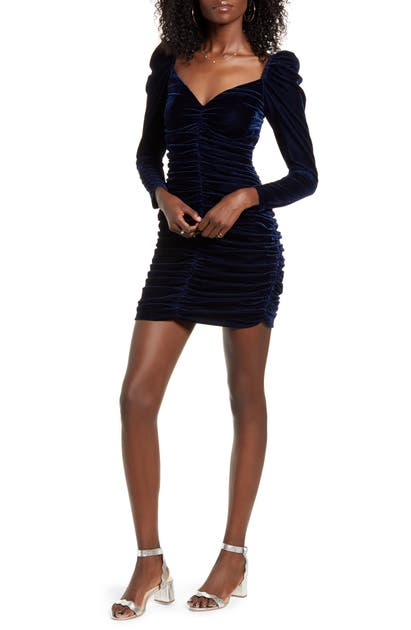Minkpink Dresses Neva Long Sleeve Ruched Velvet Minidress