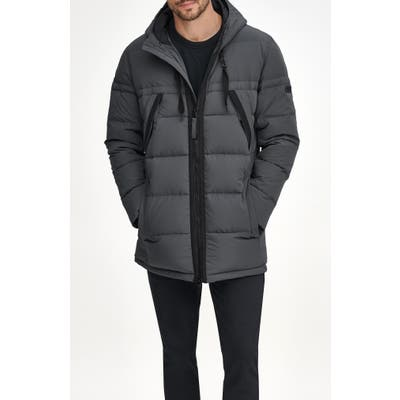 Marc New York Holden Water Resistant Down & Feather Fill Quilted Coat, Grey